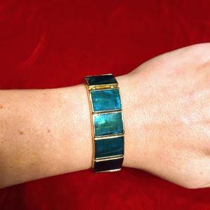 Vintage Monet green panel, gold tone bracelet
